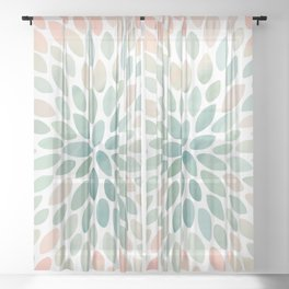 Floral Bloom, Abstract Watercolor, Coral, Peach, Green, Floral Prints Sheer Curtain