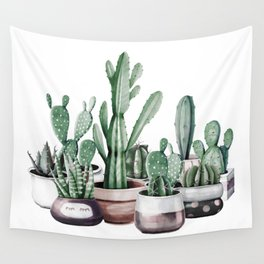 Cactus + Succulents Rose Gold Pattern by Nature Magick Wall Tapestry