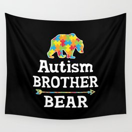 Cute Autism Awareness Brother Bear Wall Tapestry