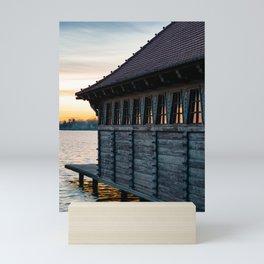 Wooden dock lake Palic Mini Art Print