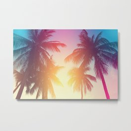 Coconut palm tree at tropical beach, colorful vintage tones Metal Print