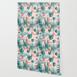 Tropical Flamingo Pattern #3 #tropical #decor #art #society6 Wallpaper