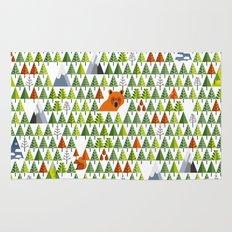 Barnål Bjørn - Pine Needle Bear, Nordic tree, forest, wood, mountain pattern Rug
