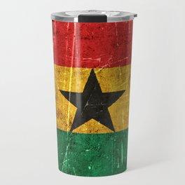 Vintage Aged and Scratched Ghana Flag Travel Mug