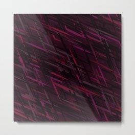 Diagonal Streaks Abstract in Ruby Red Metal Print