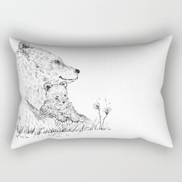 Mom and Baby Grizzly Bear Rectangular Pillow