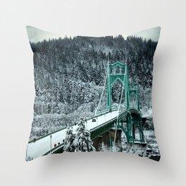 St Johns Bridge Winter Wonderland by Seasons Kaz Sparks Throw Pillow