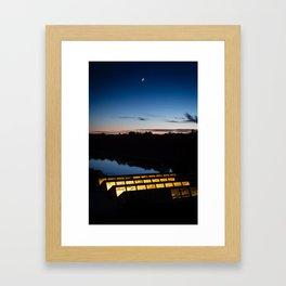 Moon over Charles River Framed Art Print