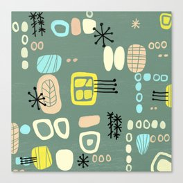 Mid Century Mod Digital Bark cloth Canvas Print