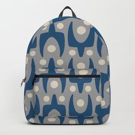 Mid Century Modern Abstract Pattern 147 Gray and Blue Backpack