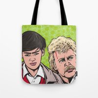 caleb troy Tote Bags featuring Troy and Rowsdower by turddemon