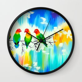 Lovebirds on a branch Wall Clock
