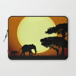 Safari elephants at sunset Laptop Sleeve