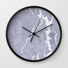 Puget Sound Washington State Nautical Chart Map Print 1956 Blue, Map Art Prints Wall Clock