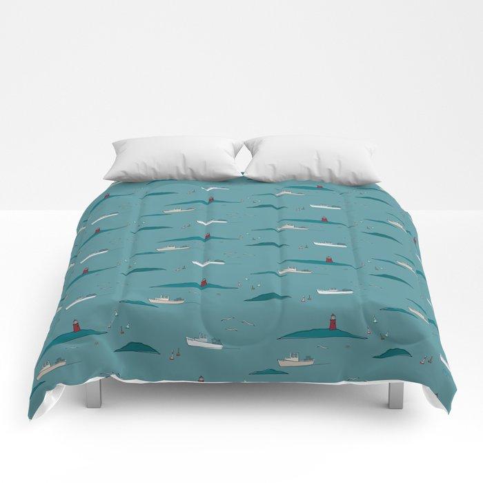 Lobstering in the Harbor Comforters