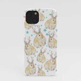 Watercolor Grumpy Jackalope Antler Bunny iPhone Case