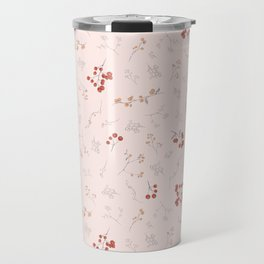 Blush pink orange red watercolor autumn floral berries Travel Mug
