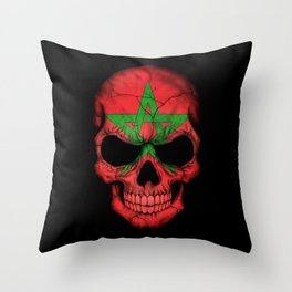 Dark Skull with Flag of Morocco Throw Pillow