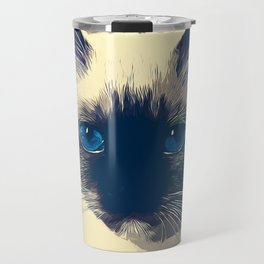 holy birma cat blue eyes vector art foggy night Travel Mug