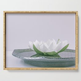 white lotus flower in a green bowl; wisteria white background Serving Tray