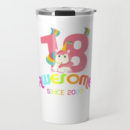 Awesome Since 2000 Unicorn 18th Birthday Anniversaries Travel Mug