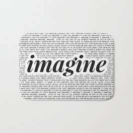 imagine - Ariana - imagination - lyrics - white black Bath Mat