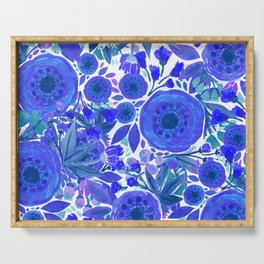 Water Color Flowers Blue Serving Tray