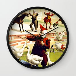 Barnum and Bailey Circus Geese and musical donkey Wall Clock