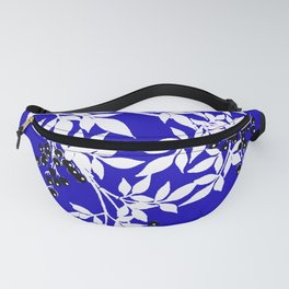 LEAF AND TREE BRANCHES BLUE AND WHITE BLACK BERRIES Fanny Pack