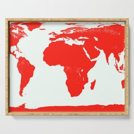 World Map red Serving Tray