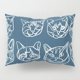 Blue and White Silly Kitty Faces Pillow Sham