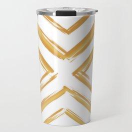 Minimalistic Gold Paint Brush Triangle Diamond Pattern Travel Mug
