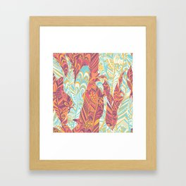 Modern abstract pink teal yellow hand painted bohemian feathers Framed Art Print