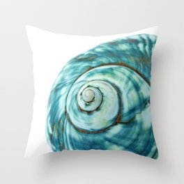 Blue Seashell Beach Photo Throw Pillow