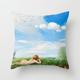 Skylark - Reclining Nude in Field of Poppies & Wildflowers landscape painting by Pál Szinyei Merse  Throw Pillow
