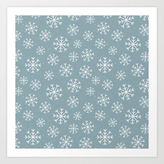 Merry Christmas Wintertime - Snowflakes pattern Art Print