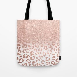 Trendy modern faux rose gold glitter ombre leopard pattern Tote Bag