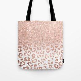 Trendy modern faux rose gold glitter ombre leopard pattern Tote Bag