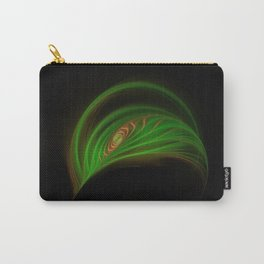 Gold Green Peacock Feather Carry-All Pouch