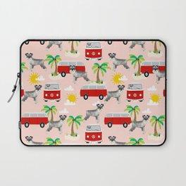 Schnauzer mini van hippie van palm tree tropical summer dog breed pattern Laptop Sleeve