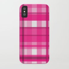 Shades of Pink and White Plaid iPhone X Slim Case