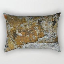 Cornish Headland Cracked Rock Texture with Lichen Rectangular Pillow