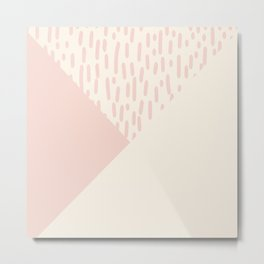 Modern geometrical ivory pink color block paint brushstrokes Metal Print