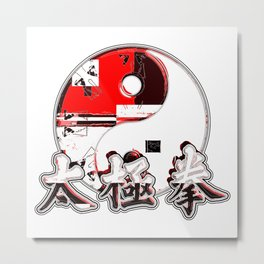 Red And Black Ying And Yang Metal Print