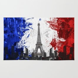 Eiffel Tower Painting Abstract Rug