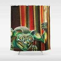 "haunted mansion Shower Curtains featuring Disneyland Haunted Mansion inspired ""Wall-To-Wall Creeps No.2"" by ArtisticAtrocities"