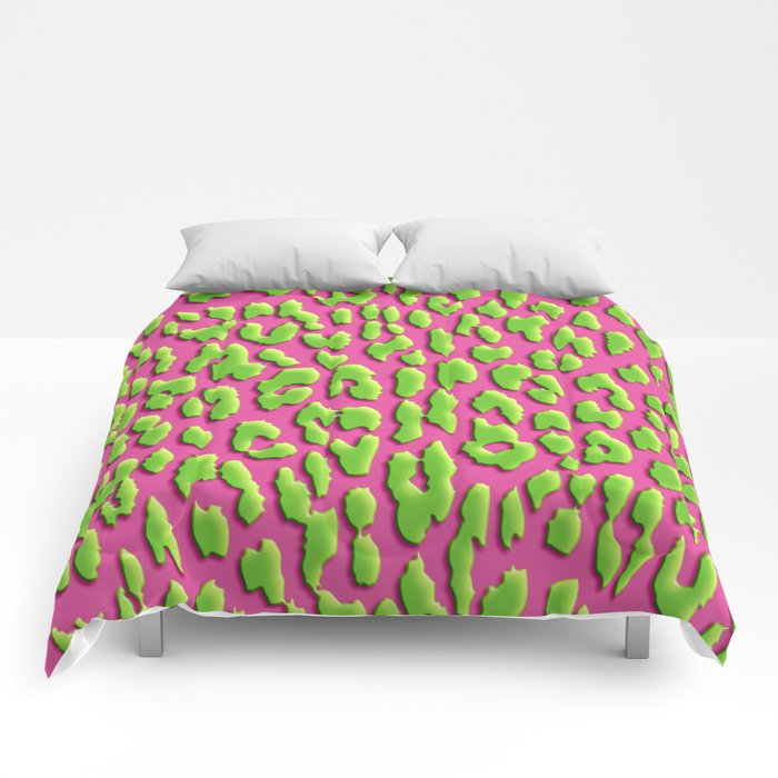ff85f162aaa8 Bright Pink & Green Leopard Print Comforters by serigraphonart ...