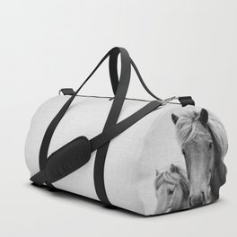 Horses - Black & White Duffle Bag