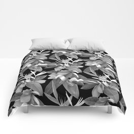 Mixed Paradise Tropicals in Black and White Comforters