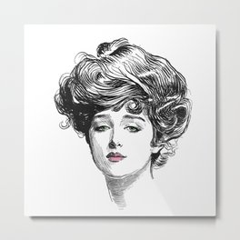 Gibson Girl with Green Eyes and Pink Lips Metal Print